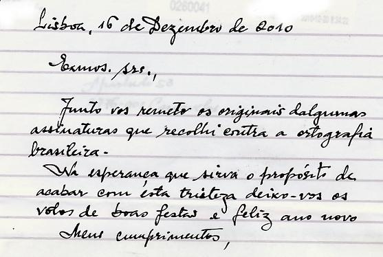 Carta manuscrita de um voluntário de recolha de assinaturas para a ILC contra o AO90.