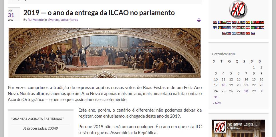2019 — o ano da entrega da ILCAO no parlamento