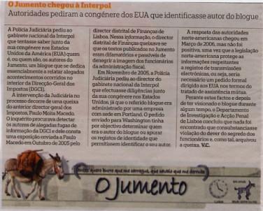 blog O Jumento é notícia no jornal Público