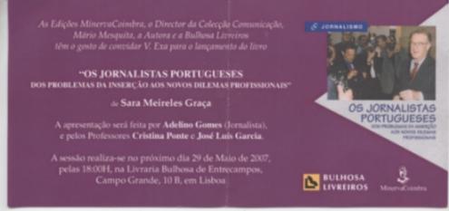 Lançamento do livro Os Jornalistas Portugueses, de Sara Meireles. Click para ampliar a imagem.
