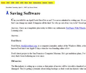 1º post de Scripting News, em 1 de Abril de 1997